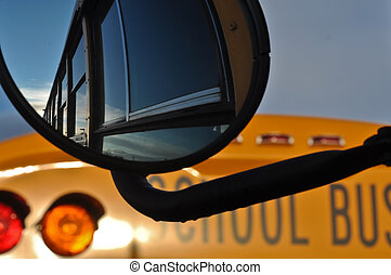 Yellow School Bus Mirror Reflection