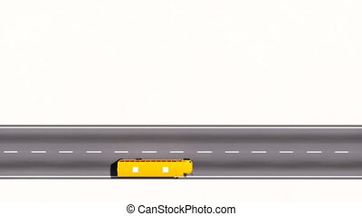Yellow school bus moving on empty road top view - Aerial top...