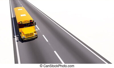 Yellow school bus on empty asphalt road animation