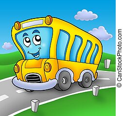 Yellow school bus on road - color illustration.