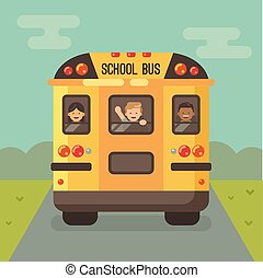 Yellow school bus on the road, back view, with three children looking out the windows, a girl and a two boys. Boy waving hand
