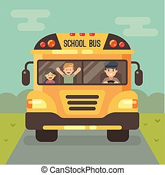Yellow school bus on the road, front view, with a driver and two children. a boy and a girl.