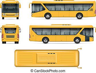 Yellow school bus vector mockup