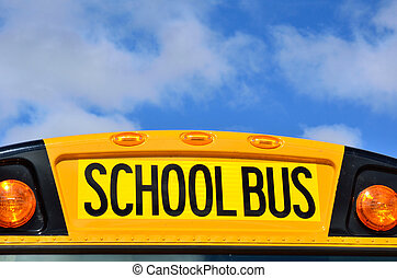 Yellow School Bus with Blue Sky and Clouds