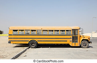 Yellow school buses in a parking lot. Doha, Qatar, Middle East