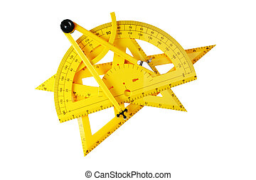 yellow school tools for geometry isolated on a white background