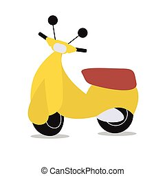 yellow scooter on white background - Image of vector scooter...