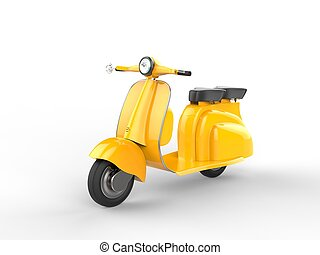 Yellow scooter on white background