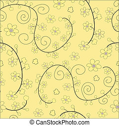 Yellow seamless floral pattern