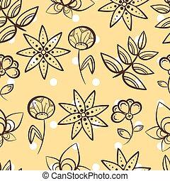 Yellow Seamless Pattern Magic Flowers