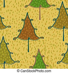 Yellow seamless pattern with Christmas trees in a simple style.