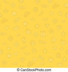 Yellow seamless shopping symbol background