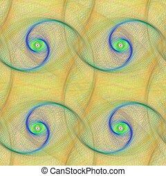 Yellow seamless spiral fractal pattern design