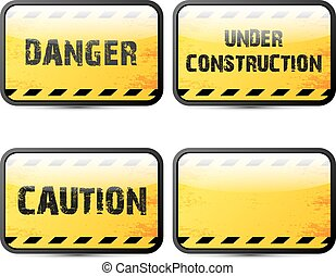 Yellow security warning tapes set Caution, Do not cross, Do ...