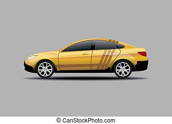 Yellow Sedan Car Isolated side view