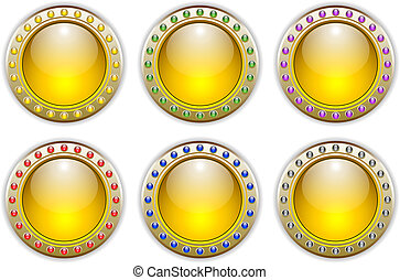 Yellow Set of 6 Color Combinations Glossy Vector Buttons
