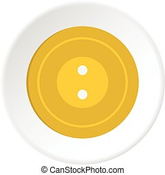 Yellow sewing button icon circle