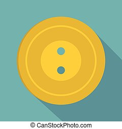 Yellow sewing button icon, flat style