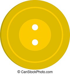 Yellow sewing button icon isolated