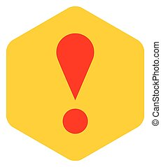 Yellow sexangle exclamation mark icon warning sign