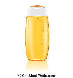 Yellow shampoo bottle with bubbles.