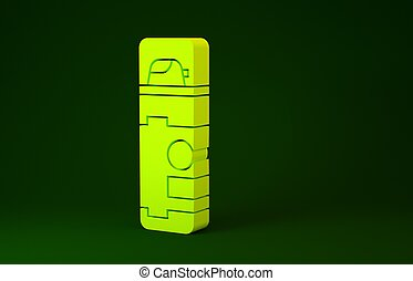 Yellow Shaving gel foam icon isolated on green background. Shaving cream. Minimalism concept. 3d illustration 3D render