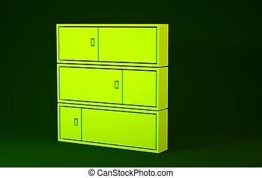 Yellow Shelf icon isolated on green background. Shelves sign. Minimalism concept. 3d illustration 3D render