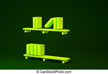 Yellow Shelf with books icon isolated on green background. Shelves sign. Minimalism concept. 3d illustration 3D render