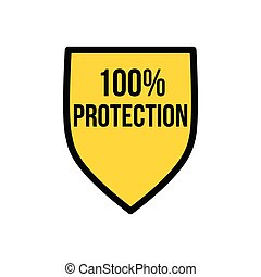 Yellow Shield 100 percent protection logo icon design template, privacy protection or security concept. Vector illustration isolated on white background.