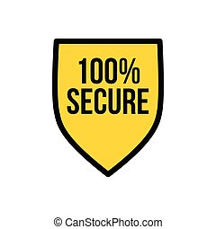 Yellow Shield 100 percent secured logo icon design template, privacy protection or security concept. Vector illustration isolated on white background.