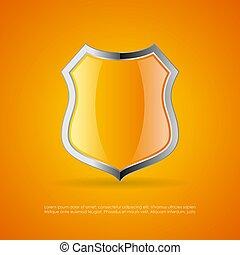 Yellow shield vector emblem