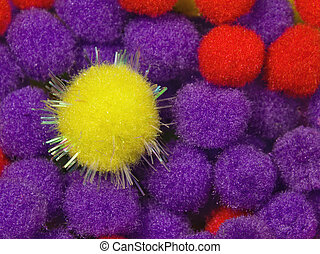 Yellow Shiny Foam Ball - A yellow shiny foam ball with blue ...