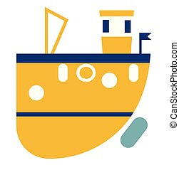 Yellow ship flat illustration