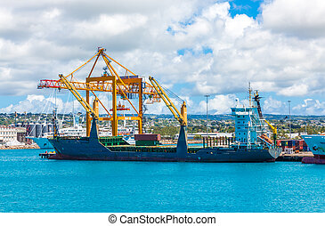 Cranes and Empty Freighter