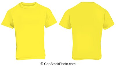 Yellow t shirt front and back