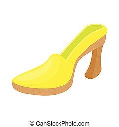Yellow shoe icon, cartoon style