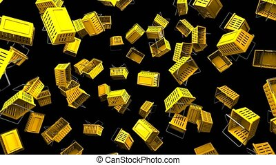 Yellow shopping baskets on black background. Loop able 3D...
