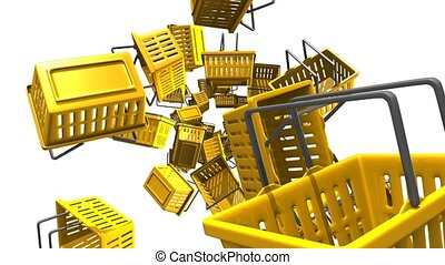 Yellow shopping baskets on white background. Loop able 3D...