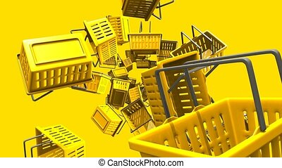 Yellow shopping baskets on yellow background. Loop able 3D...