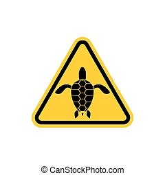Yellow sign attention water turtle. Marine reptile on yellow...