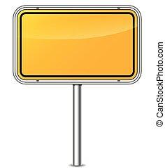 yellow sign board