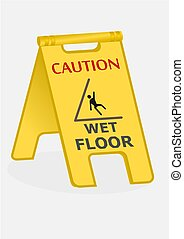 Yellow sign caution wet floor on white background.
