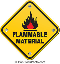 yellow sign - flammable material - suitable for warning...