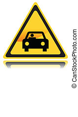 Yellow Sign with Car