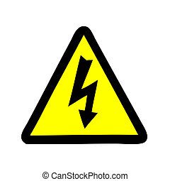 Yellow sign with high voltage icon, vector illustration