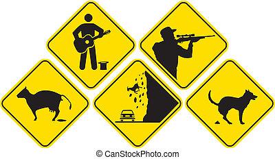 yellow signpost - warning icon
