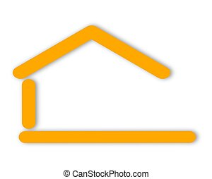 Yellow silhouette of the house