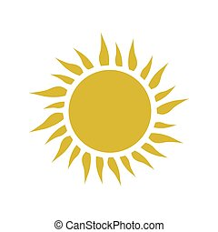 Yellow simple sun with rays vector icon.