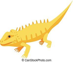 Yellow skin lizard icon, isometric style