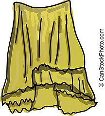 Yellow skirt, illustration, vector on white background.